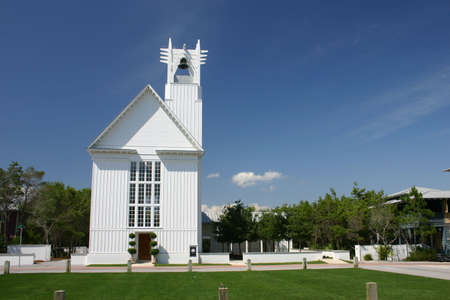 White community church with bell tower