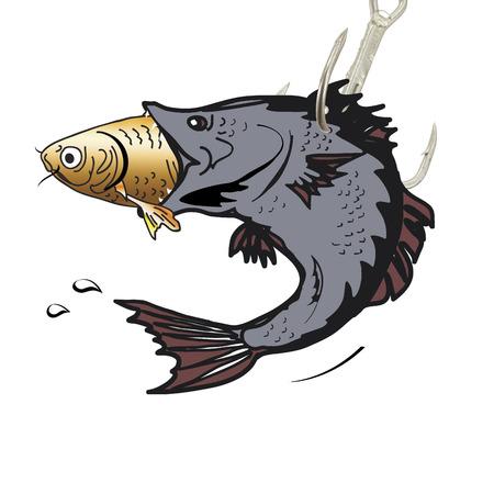 小さい魚を食べる大きな魚のイラスト 写真素材