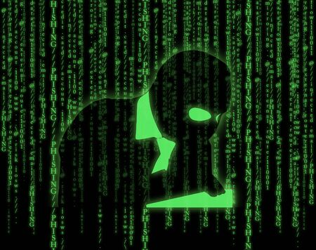 sniffer: Computer hacker silhouette of hooded man on matrix background