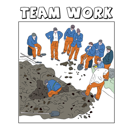 which one: Illustration with a team of workers of which only one works