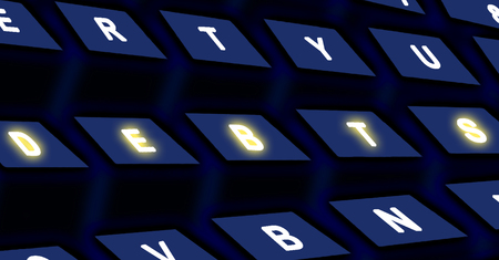 indebt: Computer black keyboard with DEBTS text on buttons Stock Photo