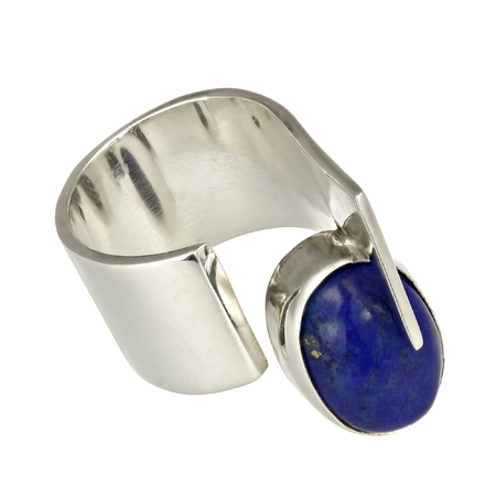solid silver: Solid silver ring with lapiz lazuli on white