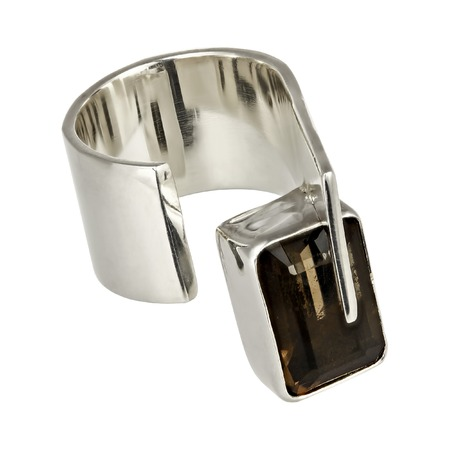 solid silver: Solid silver ring with Quartz on white