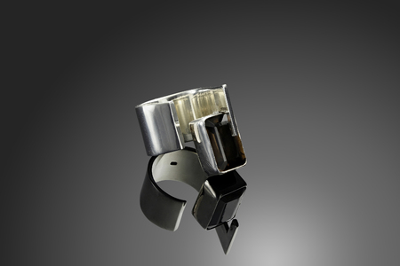 solid silver: Solid silver ring with Quartz on black