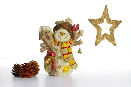 carot: Ceramic Snowman with Christmas decoration on white
