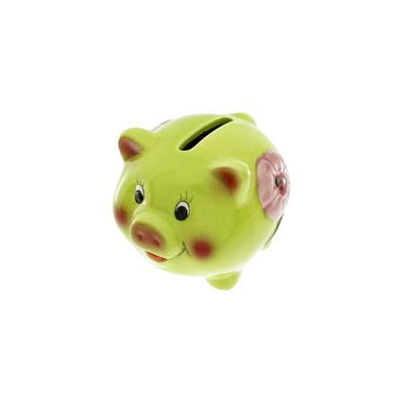 money box: Piggy bank style money box isolated on a white studio background. Stock Photo