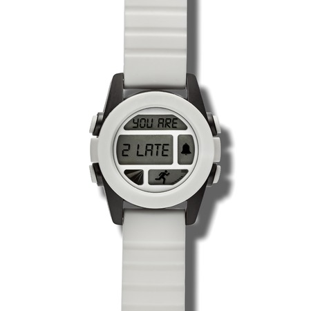 too late: White modern wristwatch with many buttons and the text  YOU ARE TOO LATE written inside Stock Photo