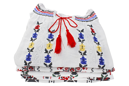 blouses: A romanian folk blouses traditional arranged to put on the shelf