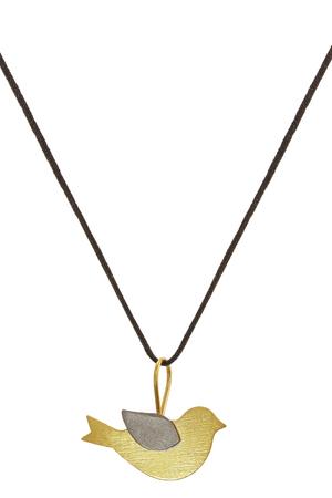 silk thread: Dove silver pendant on silk thread on white background