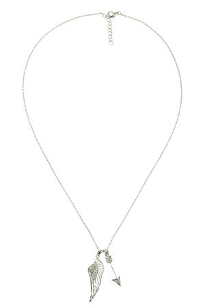 zircon: Silver jewelry chain with pendant on white background