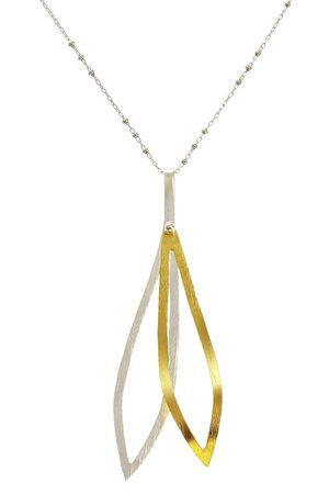 Silver jewelry chain with pendant on white background