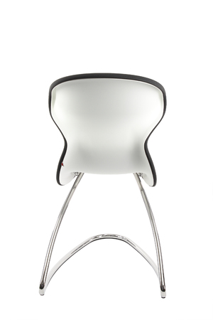 futurist: Modern chair in metal and blue fabric isolated on white background Stock Photo