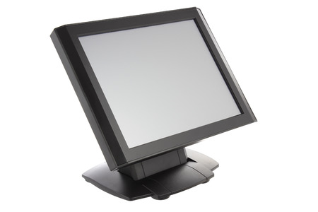 itc: Point Of Sale System with Screen Monitor On White Background Stock Photo