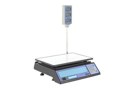 Elektronische Waagen zum Wiegen von Lebensmitteln auf einem weißen Hintergrund