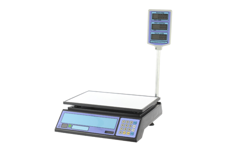 deliberation: Electronic Scales for weighing Food on a white background.