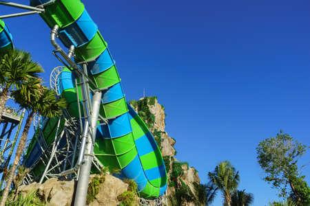 exiting: Huge Jungle Water Tube Slides in water theme park look exiting