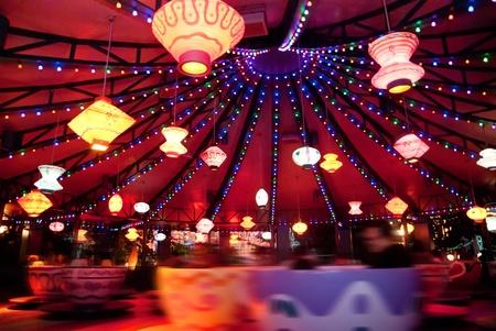 May 2011 Disneyland, Hong Kong - Visitors having a ride at Disney Theme Park Editorial