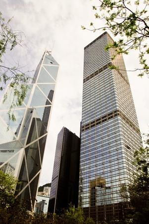 May 2011, Hong Kong - View of Cheung Kong Centre and Bank of China tower. Stock Photo