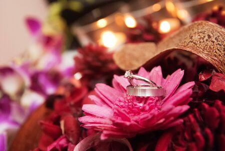 Diamond engagement rings in flower photo