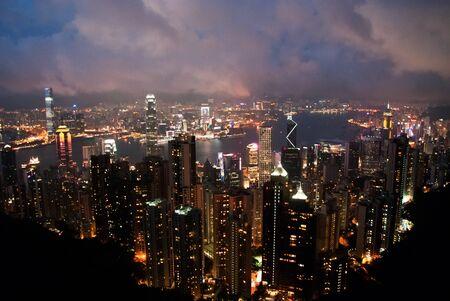 May 2011, Hong Kong - Night view on Hong Kong cityscapes from the The Peak mountain. Stock Photo