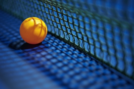 A table tennis  ping pong  ball placed next to the net  photo