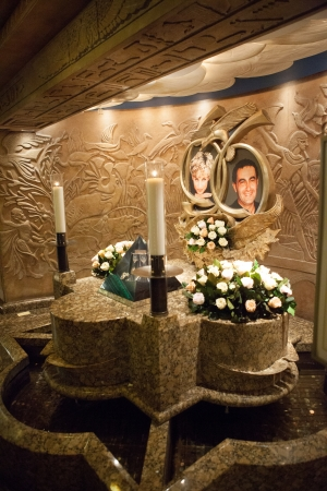 homage: Princess Diana and Dodi al Fayed Memorial in Egyptian Room in Harrods Department Store in London Editorial