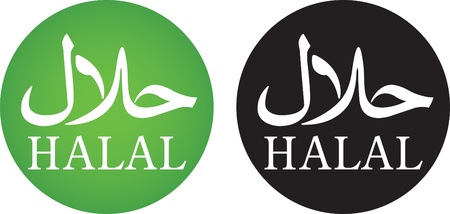 Halal sign with arabic and roman alphabet