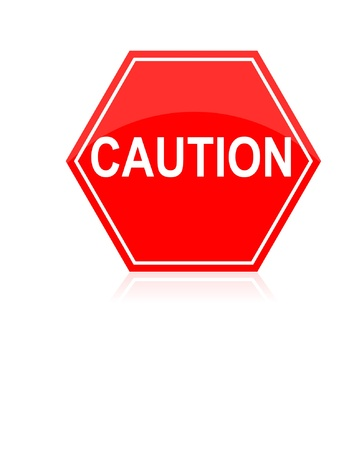 Caution road traffic sign isolated on white Vector