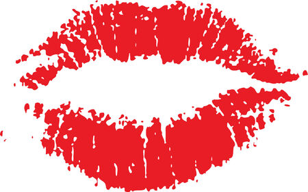 lipstick kiss: Red lip mark isolated on white