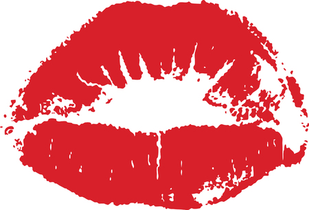 pout: Red lip mark isolated on white