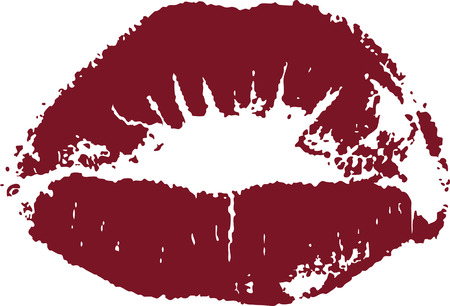 pout: Dark red lip mark isolated on white Illustration