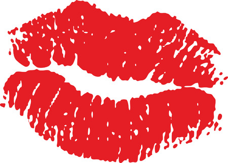 lips kiss: Red lip mark isolated on white