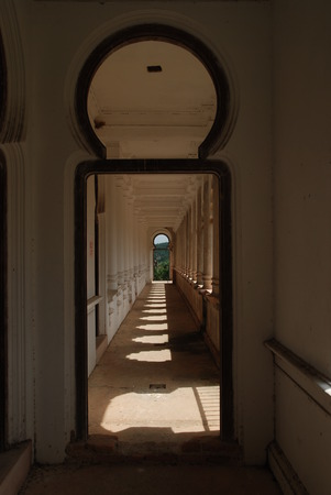 Corridor of an old deconstructed building from British colonial Kelly Castle