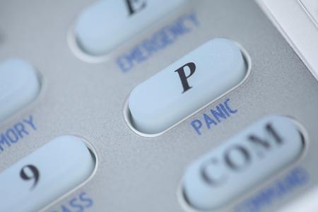 panic button: Tasto di panico di una tastiera sistema di allarme Archivio Fotografico