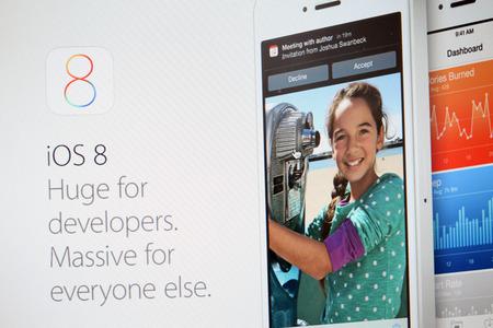 June 2014 - Apple Inc  announces their new IOS 8 in their website Stock Photo - 28847126