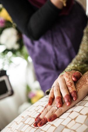 mehandi: Henna on bride s hand Stock Photo