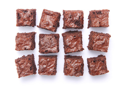 Top view of sliced square brownies with different arrangement photo