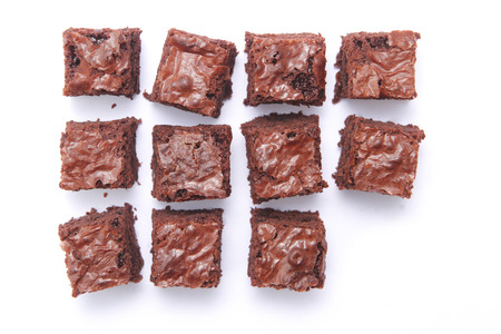 brownie: Top view of sliced square brownies with different arrangement Stock Photo