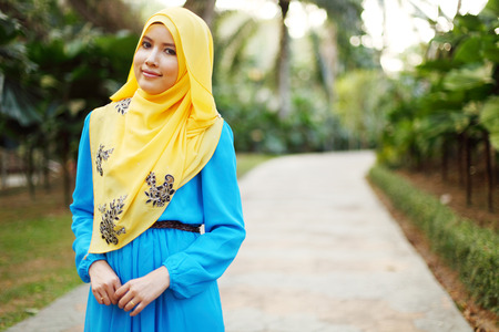 malay ethnicity: Beautiful muslim woman at the park