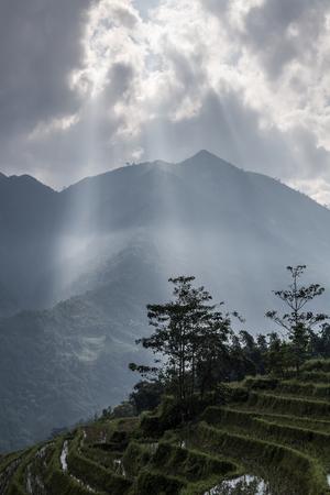 sapa: View point with sunbeam sapa vietnam Stock Photo