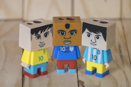 sharpeners: Pencil sharpeners doll football Stock Photo
