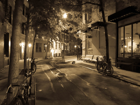 This is photo taken late at night in New York city of a quite neighborhood with a store front setting