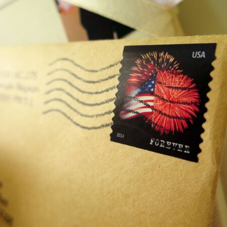 american flag fireworks: an envelope with a stamp of fireworks and the American Flag