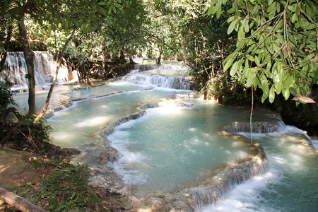 si: Kuang Si Waterfall, Luang Prabang, Laos Stock Photo