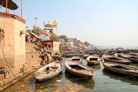 View of the Ganges river Varanasi, India Stock Photo