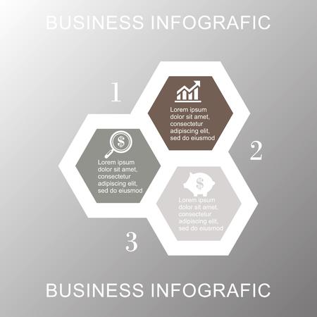 analyst: A Vector illustration infographics seven hexagons. Stock vector Illustration