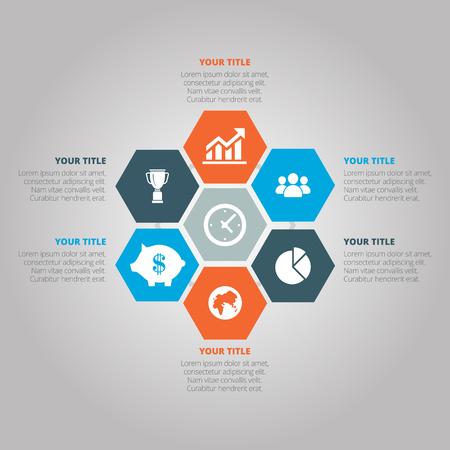 A Vector illustration infographics seven hexagons. Stock vector