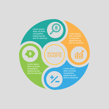 Business Diagram in circle on flat design, business plan 向量圖像