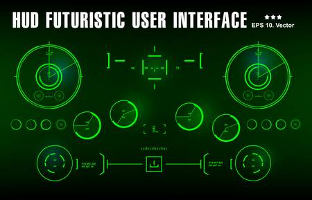 Futuristic green virtual graphic touch user interface, target 向量圖像