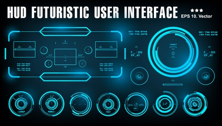Futuristic bluevirtual graphic touch user interface, target